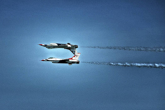 Back To Back Thunderbirds Over the Beach by Bill Swartwout Fine Art Photography