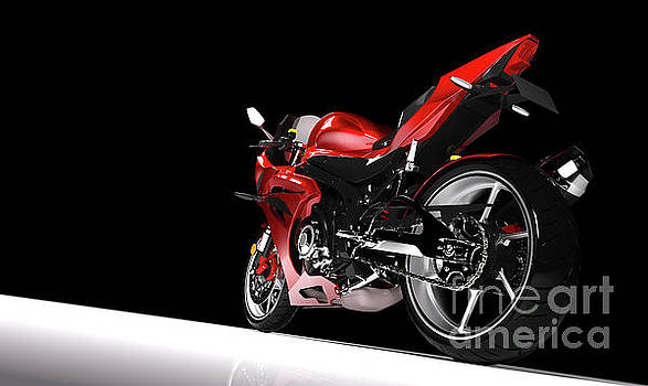 Michal Bednarek - Back view of red sport motorcycle in a spotlight