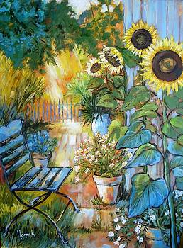 Backyard Garden With Sunflowers by Cathy MONNIER