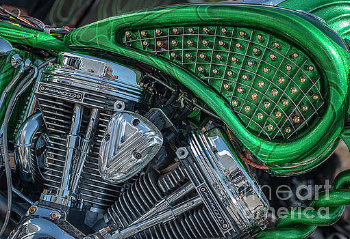 Studded Green Harley Davidson Abstract by Edie Ann Mendenhall