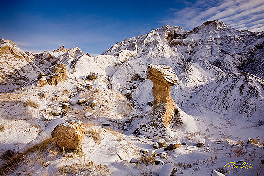Badlands Hoodoo in the Snow by Rikk Flohr