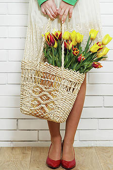 Bag with a bouquet of tulips by Iuliia Malivanchuk