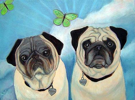 Bailey and Muggsy--Pug Dog original painting by Gayle Bell