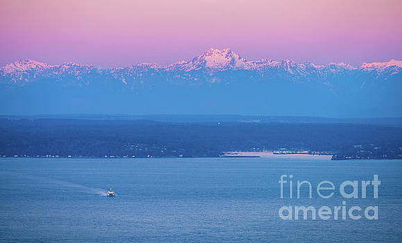 Bainbridge Island Sunrise Ferry and Mountains by Mike Reid