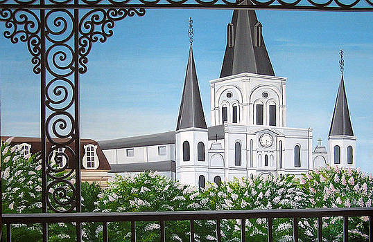 Balcony View of St Louis Cathedral by Valerie Carpenter
