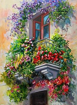 Balcony with flowers - Italy by Gioia Mannucci