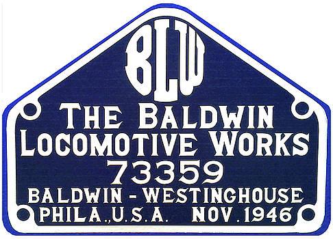 Baldwin Diesel Builders Plate by Pat Turner