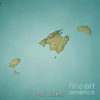 Balearic Islands Spain 3D Render Topographic Map by Frank Ramspott