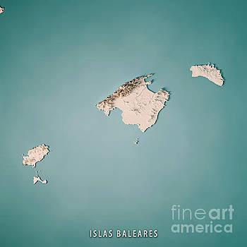 Balearic Islands Spain 3D Render Topographic Map Neutral by Frank Ramspott