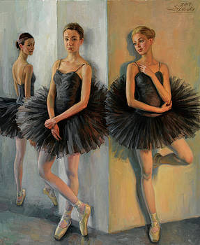 Ballerinas in Black Tutu by Serguei Zlenko