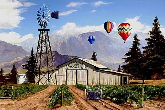 Balloons Over the Winery 1 by Ron Chambers
