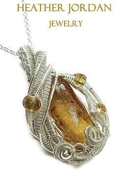 Baltic Amber with Ants Wire-Wrapped Pendant in Tarnish-Resistant Sterling Silver with Citrine by Heather Jordan