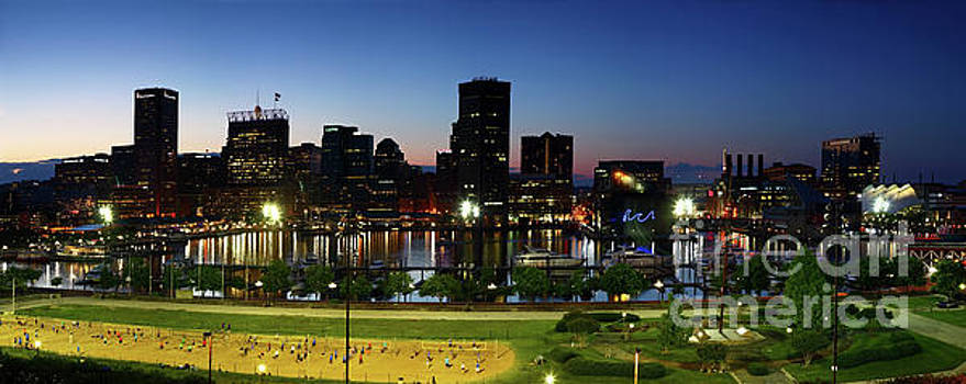 Baltimore Beach and Inner Harbor at Sunset by James Brunker