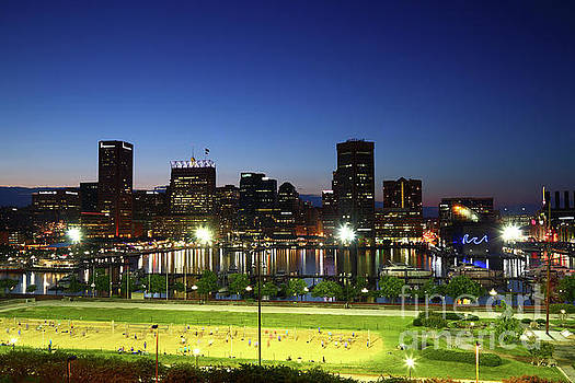 Baltimore Beach and Inner Harbor at Twilight by James Brunker