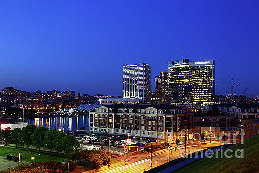 Baltimore Harbor East District at Twilight by James Brunker