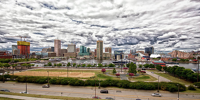 Bill Swartwout Fine Art Photography - Baltimore Inner Harbor Dramatic Clouds Panorama