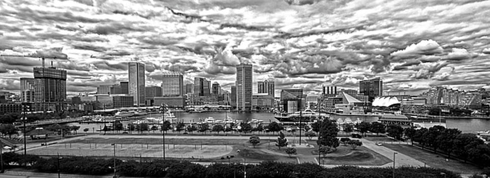 Bill Swartwout Fine Art Photography - Baltimore Inner Harbor Dramatic Clouds Panorama in Black and White