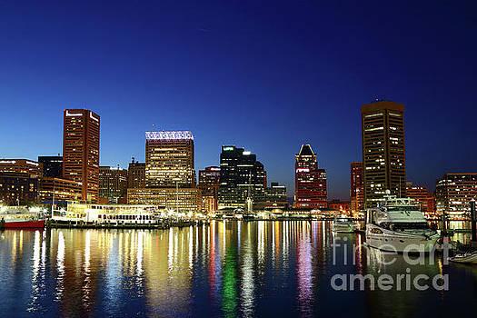 Baltimore Inner Harbor Reflections at Twilight by James Brunker