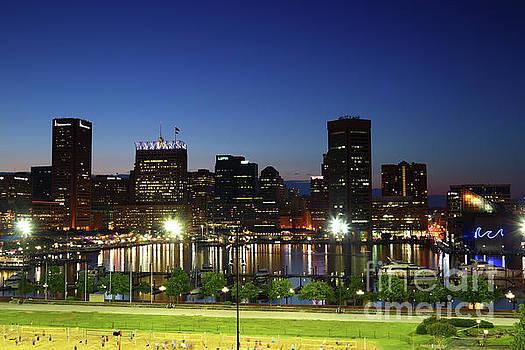 Baltimore Inner Harbor Skyline at Twilight by James Brunker