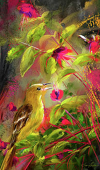 Baltimore Oriole Art- Baltimore Female Oriole Art by Lourry Legarde