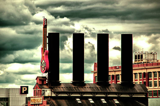 Baltimore Power Plant Guitar Stacks Moody Red by Bill Swartwout Fine Art Photography