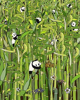 Bamboo Forest - Panda Bear Flowers by Notsniw Art