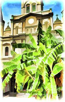 Kathleen K Parker - Banana Trees and St. Louis Cathedral_NOLA-Digital Watercolor