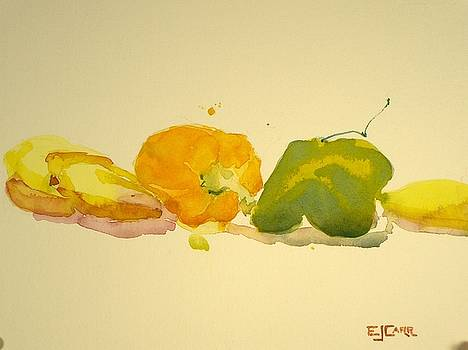 Bananas and Peppers Line Up by Elizabeth Carr