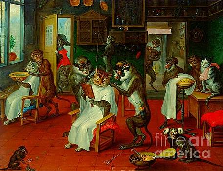 Barber Shop with Cats and Apes by Abraham Teniers by Peter Gumaer Ogden Collection