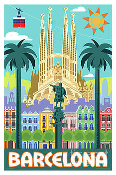 Barcelona Poster - Retro Travel  by Jim Zahniser