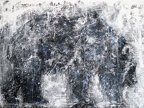 Abstract Black And White Bear Painting Barely There Bear by Jennifer Morrison Godshalk