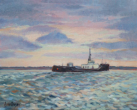 Barge On Port Phillip Bay by Ekaterina Mortensen