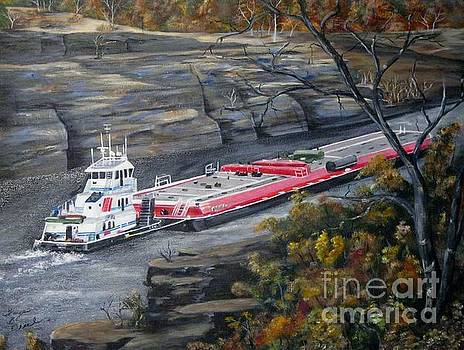 Barge on Warrior River by Faye Creel