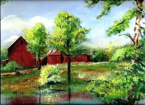Barn and Lake in June by Joseph Baker
