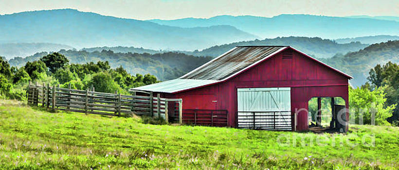 Barn and Mountains by Kerri Farley