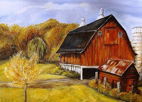 Barn and Old Building in Fall by Joseph Baker