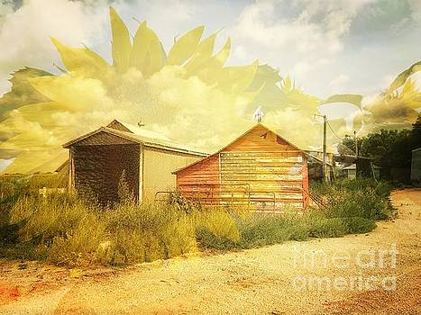 Barn and Sunflower Double Exposure by Iryna Liveoak