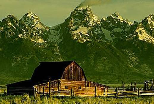 Barn And Teton Mountains by Floyd Bond