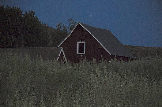 Barn at dusk with moonspots by Rich Caperton