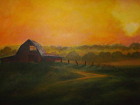 Barn at Sunset by Joseph Baker