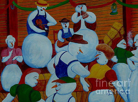 Barn Dancing Snowmen by Anthony Dunphy