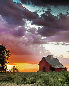 Barn in Stormy Skies by Dawn Romine