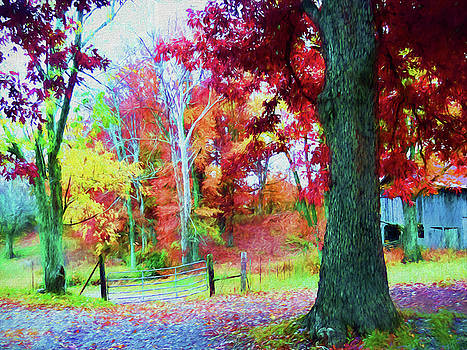 Barn in the Autumn Woods - Painting by Ericamaxine Price