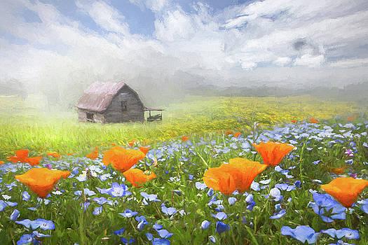 Debra and Dave Vanderlaan - Barn in Wildflowers Oil Painting