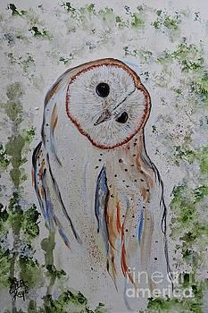Barn Own impressionistic painting by Ella Kaye Dickey
