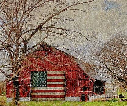 Barn with Flag in Winter by Janette Boyd