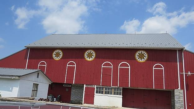 Barn with Hex Signs by Jeanette Oberholtzer