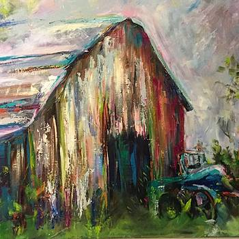 Barn with Turquoise Truck by Karen Ahuja