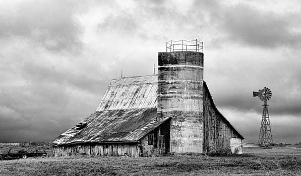 Barn with Windmill by Robert Turek