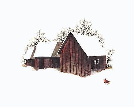 Barns In The Snow by Ray Wolf